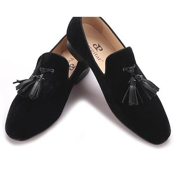 Handmade men velvet shoes with new leather rivet tassel Fashion smoking slipper Wedding and Banquet Men
