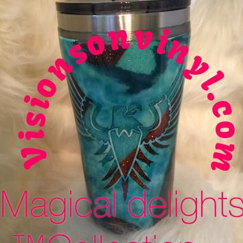 Beautiful Handcrafted Totem and Phoenix Geode Glitter Gorgeous Glitter (20oz Tumbler Display)