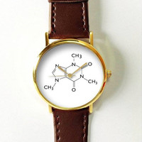 Caffeine Molecules Watch Watches for Men Women Leather Ladies Vintage Jewelry Accessories Gifts Spring Fashion Unique Chemistry Coffee