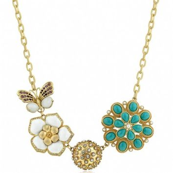 Lourina's Matte Gold Floral Themed Necklace