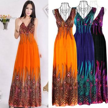 New Women's Bohemian Peacock Tail Dress Hawaiian V-neck Long Beach Dress Sundress Summer 36