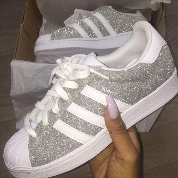 adidas Originals Superstar Silver Shiny Fashion Shell-toe Series Flats Sneakers Sport Shoes