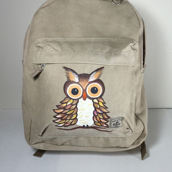 Canvas Backpack with Hand Painted Owl