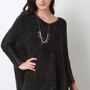 Burnout V-Neck Long Sleeve Sweater Top