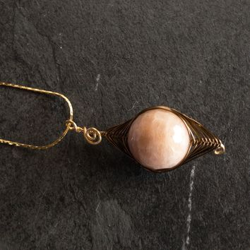 Brown Wire Wrapped Gold Necklace