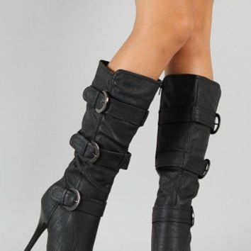 Diva Lounge Ricki-21 Buckle Knee High Boot