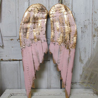Pink and gold angel wings wall hanging metal and wood distressed shabby cottage chic rusty home decor anita spero design