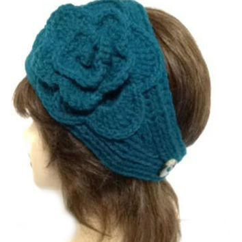 Women's Teal Large Crochet Flower Adjustable 2 Button Stretch Headband Ear Warmer Crochet Headband