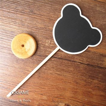 Mini Wood Chalkboard Rectangle Shape Blackboards on Stick Stand Place Card Holder Table Number For Wedding Event Decoration