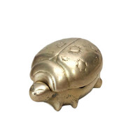 Brass Ladybug Box Hinged Lid Insect Beetle Figurine Incense Burner Trinket Dish Jewelry Holder Catchall Bowl Ashtray