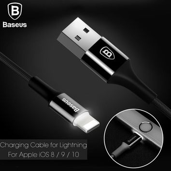 Baseus Original USB Charger Cable For iPhone 7 6 Plus iPhone 5 Data Cable For Lightning 2A Fast Charging Cable With LED light