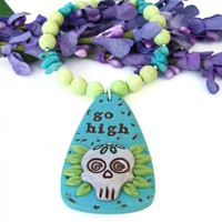 Go High Sugar Skull Necklace, Lemon Jade Turquoise Inspirational Handmade Jewelry for Women