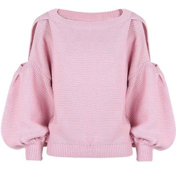 Cut Out Shoulder Puffy Sleeve Crop Knitted Sweater