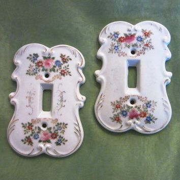 Arnart Creation Japan Porcelain Switch Plates Hand Painted Floral Design