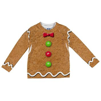 Gingerbread Man Costume All Over Toddler Long Sleeve T Shirt