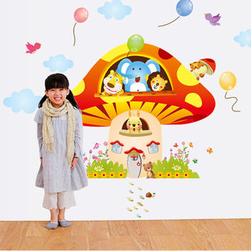 Lovely mushroom house Children in kindergarten background decoration The fifth generation of wall stickers SM6
