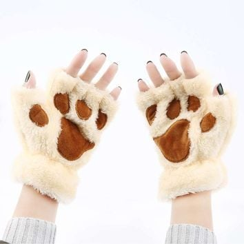 New Bear Cat Paws Women's Cute Plush Winter Half Finger Gloves Cat Paw Half Covered Gloves Ladies Fingerless Mittens Soft Gloves