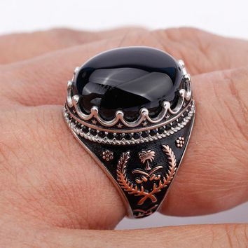 Silver 925 Men Ring Oval Black Big Stone with Black Small CZ Vintage Punk Ring for Men Women Lovers Fashion Jewelry