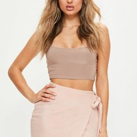 Missguided - Pink Faux Suede Asymmetric Tie Side Mini Skirt