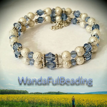 Blue Crystal and Silver Beaded Petite Two Strand Memory Wire Bracelet size 7.5 to 8.5 inches - $7.50 - Handmade Jewelry, Crafts and Unique Gifts by WandaFulBeading