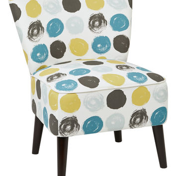 Office Star Apollo Chair with Dark Espresso Finished Legs and Dot Peacock Fabric [APL-R7]