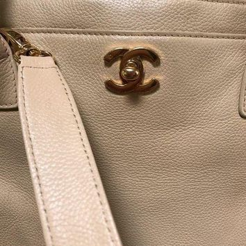 Chanel Executive Cerf Tote Bag Caviar Beige Gold Hardware With Shoulder Strap - Beauty Ticks