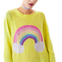 Wildfox Couture Island Rainbow Mini 70's Sweater Sunlight