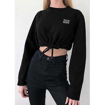 Women Sexy Long Sleeve Lace Up Top