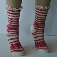 """Red Combo 9"""" Marbled Slub Stripes Crew Boot Sock with Crochet Cuff"""