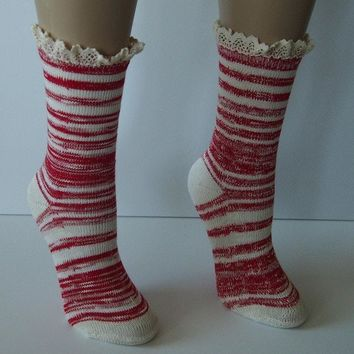 "Red Combo 9"" Marbled Slub Stripes Crew Boot Sock with Crochet Cuff"