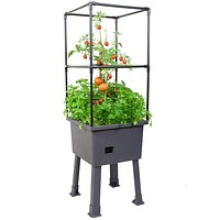 Self Watering Elevated Planter Raised Garden Bed Trellis and Greenhouse Cover