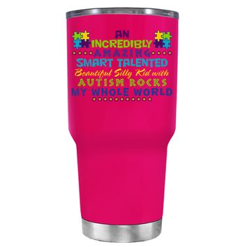 TREK An Amazing Smart Talented Kid with Autism on Hot Pink 30 oz Tumbler Cup