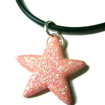 """Starfish Necklace, Pink Glitter Coating, Acrylic, 21"""" Black Silicone Cord"""
