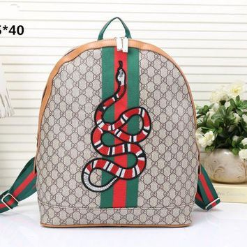 """""""Gucci"""" Women Men Fashion Personality Classic Print Multicolor Stripe Snake Pattern Embroidery Backpack Large Capacity Double Shoulder Bag"""