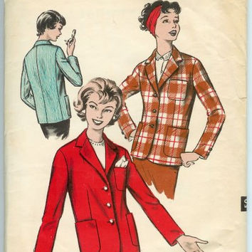 1960s Womens Jacket Pattern, Ladies Coat Pattern, Advance Sewing Pattern 9011, Bust 32, Hip 34, Waist 25