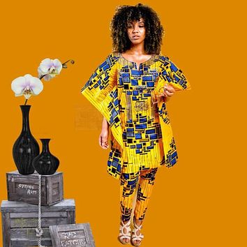 Fiery Traditional African Woman Pants Set