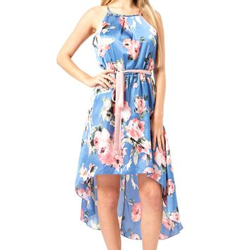 High-Low Hem Satin Floral Dress