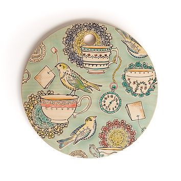 Heather Dutton Tea Time Cutting Board Round