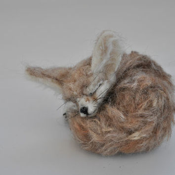 Needle Felted sleeping Fennec Fox. Made to order