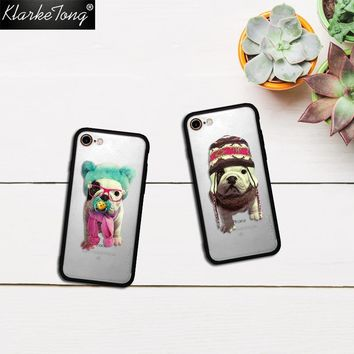 KlarkeTong Cool Cute Animal French Bulldog Pet Dog Case For iPhone 7 6 6s Plus 5 5s SE Hybrid Silicone Matte Hard PC Cover Quote