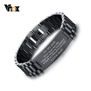 Vnox Men's Free Personalized Engraving Stainless Steel ID Bracelets To My Son Love pulsera masculina 8.26""