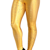 Yellow Water Droplets Leggings Design 0228