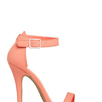 DailyLook: DAILYLOOK Simple Strap Heels in Coral 6 - 8