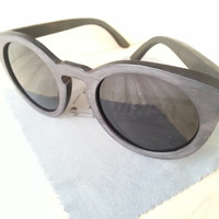 Wood Sunglasses - Eco-Friendly Round Bamboo Sunglasses | Hand Made from Recycled Wood | Lennon Style Sunglasses