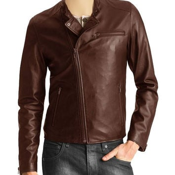 Tan brown stylish leather jacket