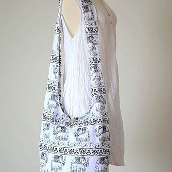 WHITE - Hobo hippie elephant print, Sling, Cross body, Shoulder bag, Boho, Peace bag, Purse UD353