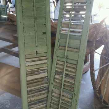 Matching Pair of Antique Green Shutters