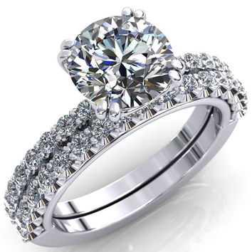 Sydney Round Moissanite Half Eternity Double Prong Crescent Engagement Ring