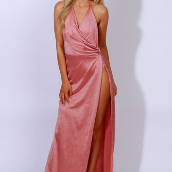 Glam Goals Halter Maxi Rose Gold