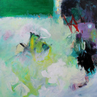 "On Canvas Abstract Painting Green Acrylic ""Key Lime Pie"""